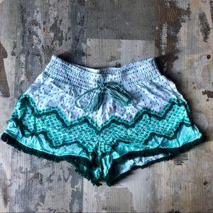 Soft and beautiful teal boho shorts with fringe XS